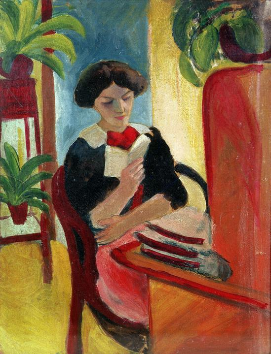 books0977:  Elizabeth Reading (artist's wife).  August Macke (German, 1887-1914). Macke made a unique contribution to Expressionism through his harmonious and simple scenes of everyday life. Macke was fascinated by the power of color to construct space and distance, permitting him to make figures and surroundings equally important. He ordered his abbreviated forms in carefully balanced color variations, avoiding the frequently apocalyptic and fantastic forms of his friends of the Blue Rider Group.