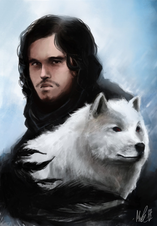 The crow and the direwolf - http://minelo.deviantart.com
