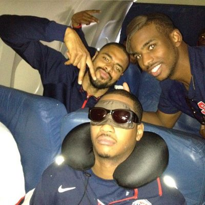 LeBron James posted this pic on Facebook of  his Olympic teamates Tyson Chandler + Chris Paul around a sleeping Carmelo Anthony