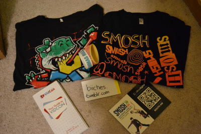 "exchange-smoke-rings:  SMOSH GIVEAWAY I'm not much of a smosher anymore, so I figured I would give them away so someone else can enjoy better than myself. Includes: Smosh Gradient shirt (size M) Smosh Dinosaur shirt (size M from Hot Topic) ""Periods Suck, Commas Rule"" wristband ""Pink Frosted Sprinkled Donut"" wristband Your Guide To VIDCON booklet An ad for a Smosh signing from Vidcon Rules: Reblog as much as your little heart desires Likes count Must have an ask box Do not have to be following me because I'm a band-ish blog so I won't make you suffer through that, but if you want to that'd be nice. You must"