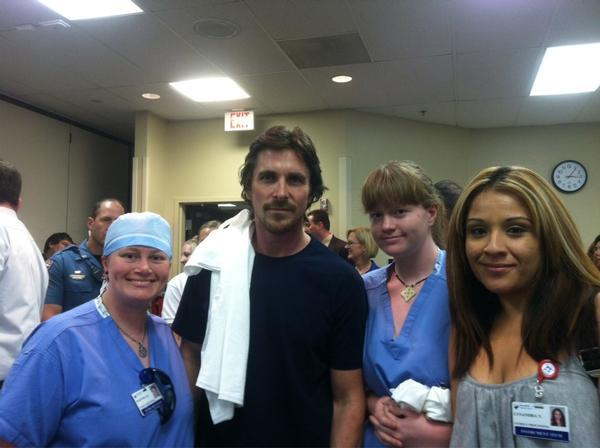 under-radar-mag:  Christian Bale, star of the Batman films, met at the Medical Center of Aurora on Tuesday afternoon with seven patients injured in the mass shooting that occurred during a midnight showing of his new film. (via Christian Bale in town visiting victims of shooting - The Denver Post)  Seriously, major respect to Mr. Bale.
