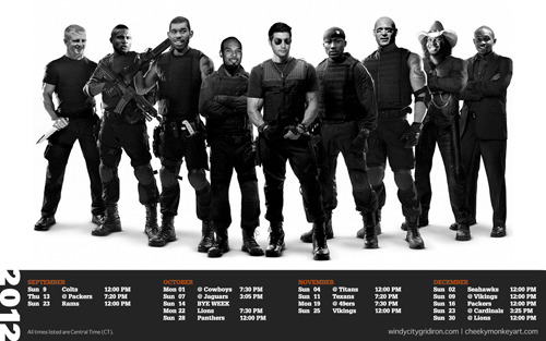 2012 Chicago Bears Desktop Wallpaper (The Expendables) | Download: 1680x1050 and 1280x960. Also available sans-schedule: 1680x1050 and 1280x960.