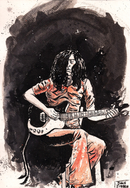 Jimmy Page study with ink and watercolor