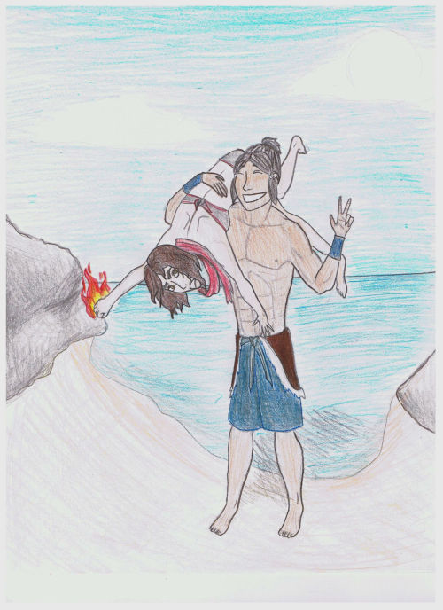 firemakesmesmile:  MAKORRA WEEK DAY THREE GENDERBENDER anyways, this is supposed to be a photograph at the beach. Because what's the point of them switching genders if there isn't a little skin showing?