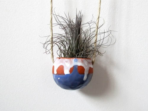 "Terracotta clay hanging ceramic pinch pot with azure and white glaze, approx. 2x2"", $35 Available"