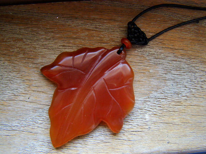 13thmoon:  My New Etsy Item: Large Carved Agate Autumn Leaf with Celtic Knot Note: The leather cord is adjustable! **FREE SHIPPING**