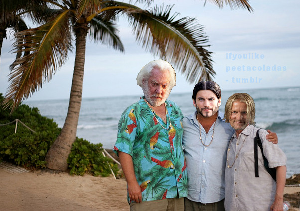 ifyoulikepeetacoladas:  President Snow, Seneca and Haymitch, just being bros.  President Snow looks a bit like he's had too much to drink and is either angry or about to vomit. Haymich looks a lot like he's had too much to drink because he's played by Woody Harrelson and he's smiling so he automatically looks that way. Seneca still looks as if he wants people to know it was he who ordered this pig. Photos like this make me laugh, but also make me want the Hunger Games DVD NOW.