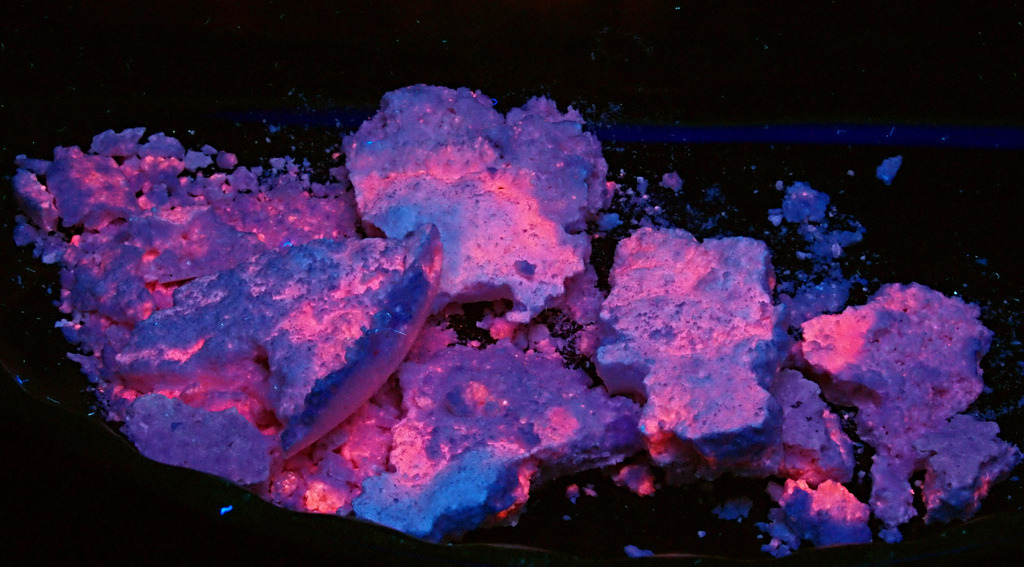 museumofnaturalhistory:  Synthetic Fluorescent Mineral: Manganese Chloride - UVC (by someHerrings)