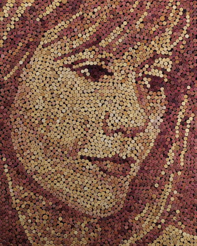 """Trisha"", 46"" X 56"", 3,621 wine corks, 2012, SOLD See more at http://www.facebook.com/scottgundersen.art"