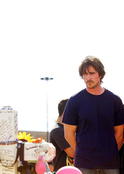 Christian Bale visiting the memorial site of the Aurora, CO mass murder victims.