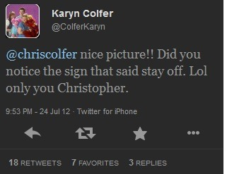 kissedmequiteinsane:   Karyn Colfer Tweet   can we take a moment to appreciate chris getting reprimanded by his mother on twitter please.