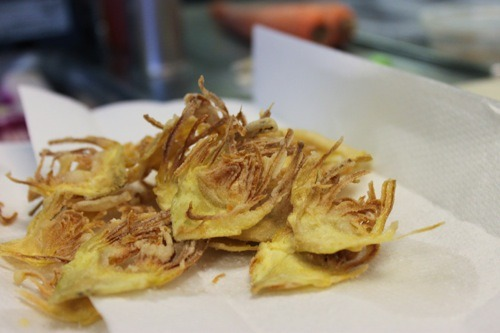 "Artichoke chips! From the people who brought you the lavender-mint mojito! Jerry James Stone at Bay Area Bites calls it ""a vegetarian version of the internet's bacon meme,"" which surprises me, because I have never heard of it and I read a fair amount of vegan food blogs. Tempeh bacon? Duh. Eggplant bacon? Made it, loved it. But artichoke chips? In everything, on everything, let's eat crispy fried artichokes all the time? I could get behind it! If you've never made them, check out this recipe (with helpful video). If you have, why didn't you tell us about artichoke chips? They seem brilliant!"