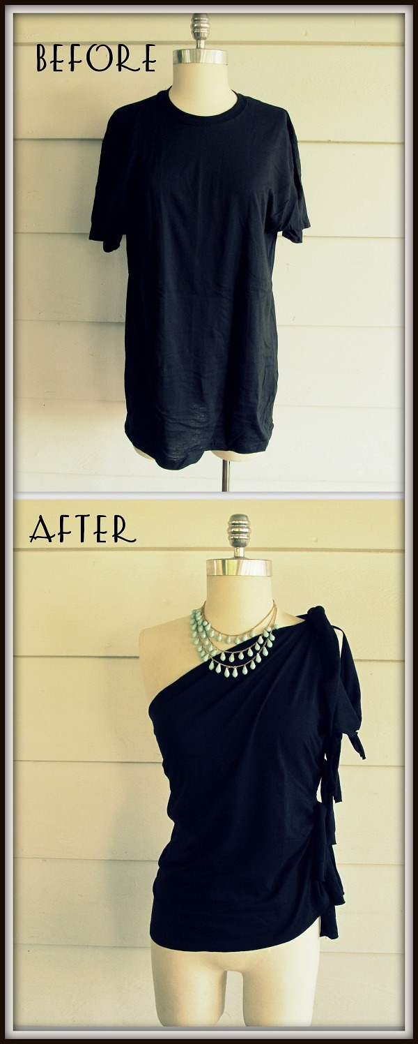truebluemeandyou:  DIY No Sew One Shoulder Side Tied Tee Shirt Tutorial from Wobisobi. For more really good no sew tee shirt tutorials go here: truebluemeandyou.tumblr.com/tagged/wobisobi