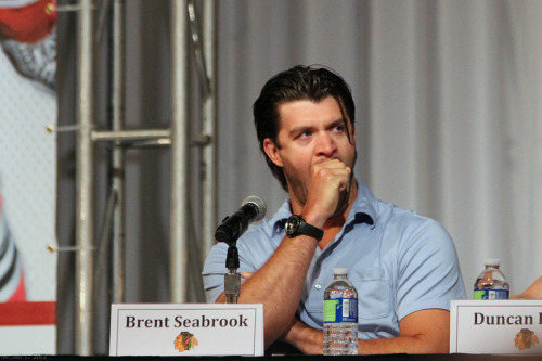 Chicago Blackhawks Convention 2012 Photos Click the above link for my complete set of photos from the weekend. I chose the picture of Seabs since it aptly represents how most convention attendees felt after the weekend was over. I literally passed out when I got home. Good times. I've seen some of my photos being linked to on Tumblr like hotcakes. Most have had proper linkage/credit which pleases me to no end. Please remember though - if you want to put them on your Tumblr/Blog (which I'm fine with - I took these photos so others could enjoy them), at very least give me credit and a link. Camera equipment is not cheap, in addition to the time spent taking, editing and uploading them. Thanks folks. I'll queue up some more photos for the next day or two from my set.