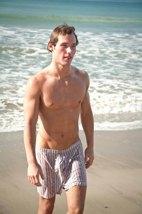 Wet boxer shorts - Frat boy on the beach