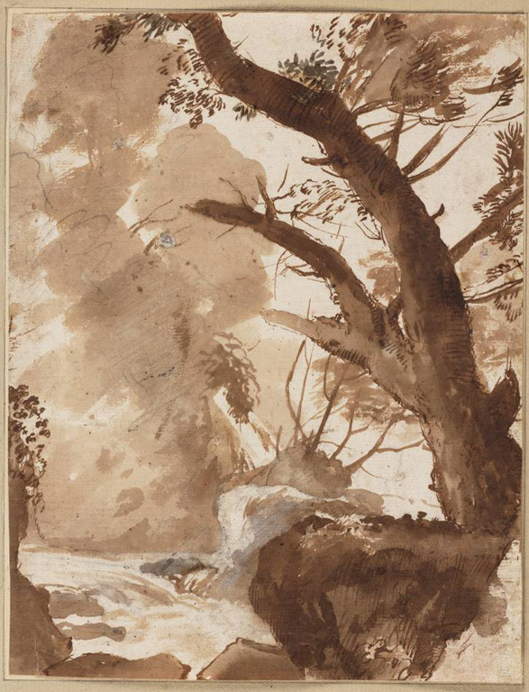 muirgilsdream:  Claude Lorrain, Tree and rocks by a stream, ca. 1635.