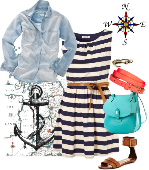 Anchors Away by icey0701 featuring a stripe dress