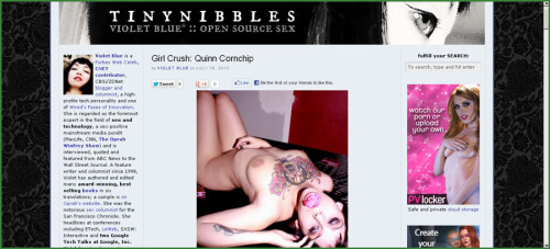 Quinn Cornchip had a great write-up by Violet Blue on her TinyNibbles site.  Featured is one of our favorite photos we have taken together.