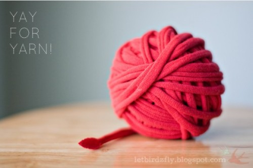 "DIY Yarn Out of Plactic Bags, Tee Shirts, and Sheets from Oh You Crafty Gal! here. There are several video tutorials showing you how to make yarn from these items and also a simple way to join the ""yarn"" together. Photo: Excellent DIY Tutorial for making continuous tee shirt yarn from let birds fly here. *I've been looking for tee shirt yarn (and cannot find a reasonably priced source even at one of the largest yarn stores on earth - literally) so I can make inspiration & realisation's gigantic size 50 knitting needles and knit something!"