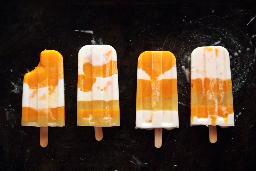 beautifulpicturesofhealthyfood:  Mango Coconut Striped Popsicles…RECIPE