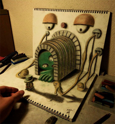 3D Art on Two Sketchpads by Nagai Hideyuki