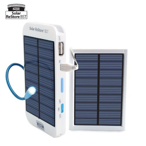ReVIVE Series Solar ReStore BST - External Backup Battery Pack and Solar Panel w/ Doubled Charging Speed for Smartphones / E-readers / MP3 Players and More USB Powered Devices!  External 1500mAh battery pack recharges up to 1,000 times from Solar, AC, or USB power. Provides a full charge to most phones, MP3 players, GPS, iPod, iPhone, e-Readers, Bluetooth devices and other USB powered devices Add-on panel DOUBLES solar charging speed and allows the Solar ReStore to charge to 100% capacity by solar power alone within 8 hours in direct sunlight! Includes detachable Add-On panel, AC adapter, Micro USB charging cable, and window suction mounts to optimize solar charging at home, in the car, or at work Features 240mA solar charging efficiency (w/ both panels connected) and a USB output of 600mA. Built-in power capacity indicator lets you know how much battery you have left. Guaranteed Quality: 3 Year Manufacturer's Warranty.   (vía Amazon)
