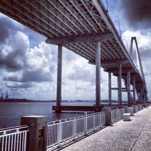 offthecurve:   Underneath the Ravenel Bridge Memorial Waterfront Park