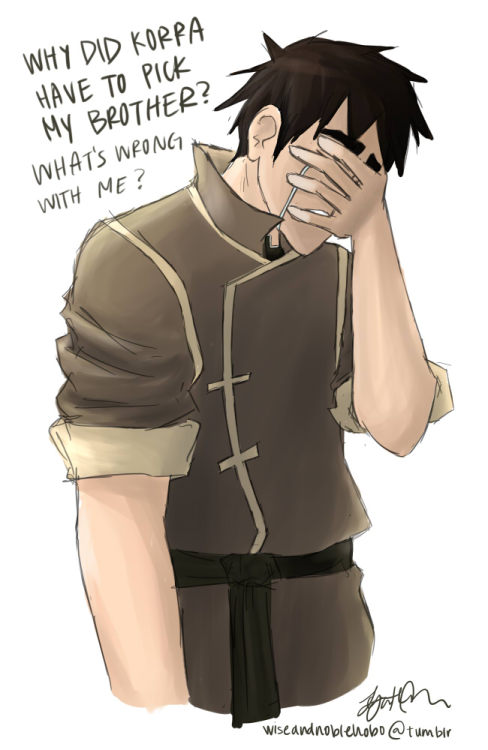 "korrashorts:  wiseandnoblehobo:  It really irks me that Bolin's heartbreak in ""The Spirit of the Competiton"" was played for laughs. His pain from Korra's rejection and Mako's betrayal was real and relatable, yet the depiction of his reaction (the snot running from his nose, tears streaming, arms flailing about) undermined his suffering for the sake of comedy. Then I got even more irritated by his lack of screentime after that episode. Hopefully book 2 will make up for that, and we'll get to see more character development from him. He is probably always feeling lonely and inferior to Mako…   That's okay. I didn't need my heart anyway. /brb sobbing forever"
