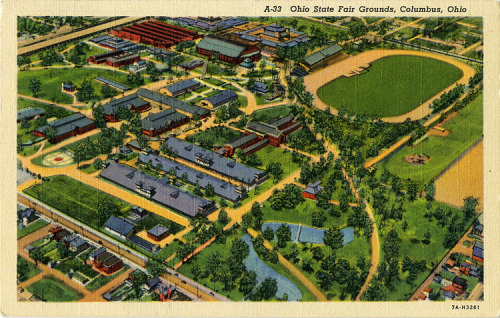 Aerial view of the Ohio State Fairgrounds from the 1930s. View is from the southeast, somewhere over Clara & E 11th. Seventy-five years later—just like the fair itself—much has changed but much remains the same. The 159th Ohio State Fair starts today!