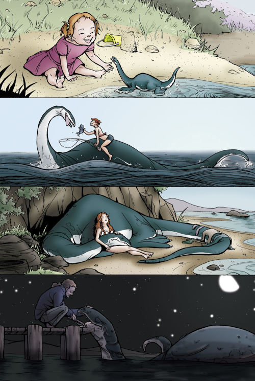 amber-and-ice:  cherubrockerprime:  A girl and her Nessie.  This was my childhood dream. I wanted to have a pet sea beastie. I love the Loch Ness Monster and I will believe in her existence until the day I die despite any and all evidence to the contrary.