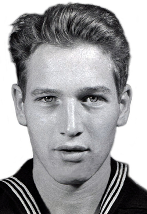 Paul Newman, as a young Navy sailor in WWII.    During his lifetime, Newman received numerous awards, including an Academy Award for Best Actor and nine additional Oscar nominations.  He also received a Navy Combat Action Ribbon and Combat Aircrew Wings while serving as an aviation radioman and aerial gunner during World War II.