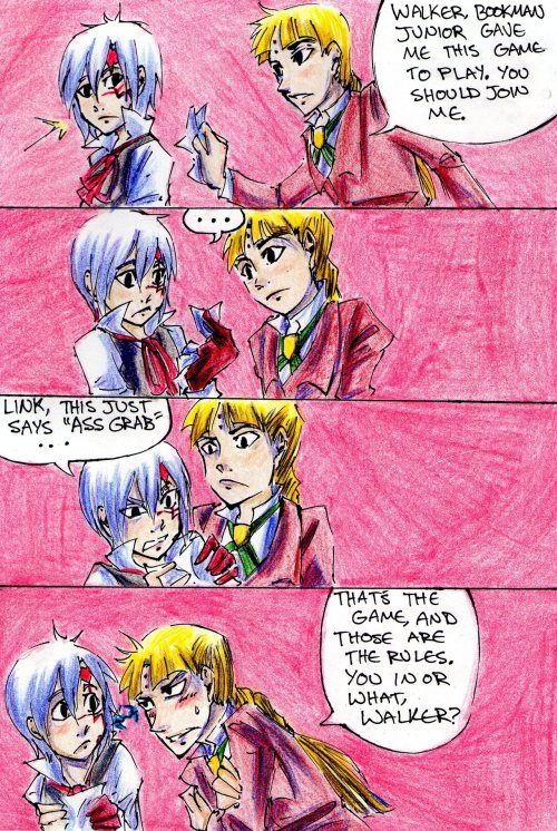 "thebutterses:  Something like the idea: ""Link goes and asks Lavi for romance advice, and Lavi gives it terribly"" came to mind when making this… I like to think Link has no idea what love is or how to handle what emotions are, and it's not like his surrounding peers have much experience either… So he's just kind of this awkward case of awkward subjected to his own awkward tendencies and horrible advice from the one and only Bookman Junior"