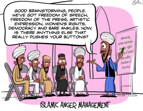 religiousragings:  atheistcartoons:  I like ridiculing Islam as much as the next free-thinking human, but I'm not going to listen to a single thing Christians (or any religious people) have to say about it. Because the only response is: Islam sucks for precisely the same reasons that your religion sucks, so you don't get to say anything about it. You know who does get to say something about it? Ayaan Hirsi Ali. Go read her piece and learn something.  Islamic Fundamentalists  Reblogging for commentary