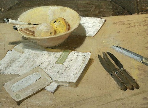 stilllifequickheart:  William Nicholson Still Life, Apples and Knives  1932