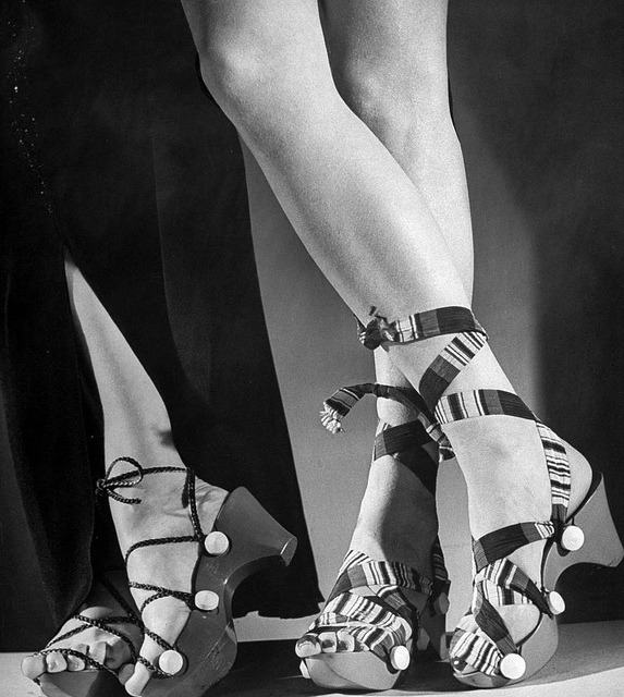 Women wearing unrationed shoe soles during the war, photo by Nina Leen, 1943