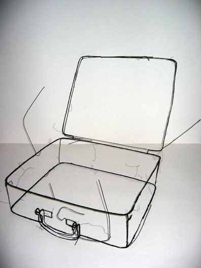 workman:  mianoti: Fritz Panzer Koffer (suitcase) * wire sculpture