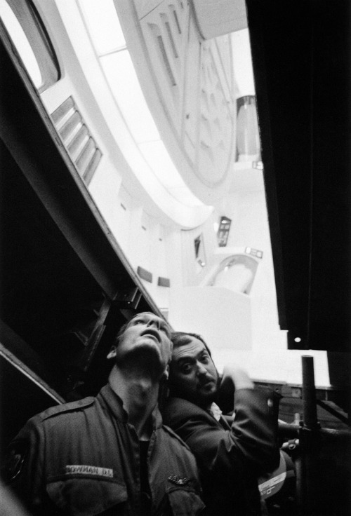 "strangewood:  Keir Dullea and Stanley Kubrick on the set of 2001: A Space Odyssey. ""The feel of the experience is the important thing, not the ability to verbalize or analyze it."""