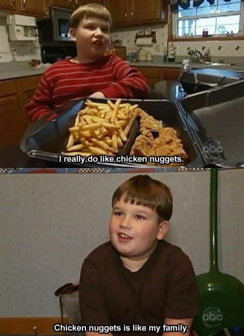 famicommm:  MY LIFE  Chicken nuggets is like my family.