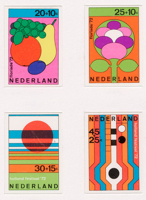 Test print for Dutch stamp designs (1972) by Dick Elffers.