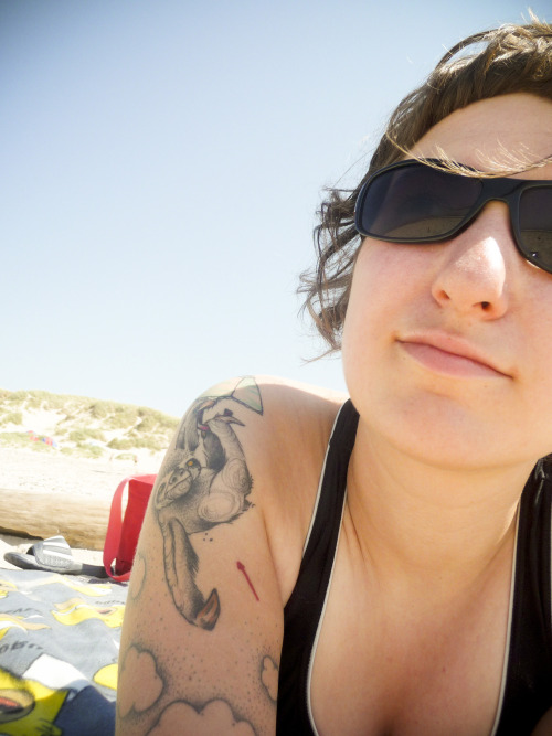 enjoyin' the sun at the beach in denmark. the sloth tattoo is by the awesome http://klemensderdritte.tumblr.com/