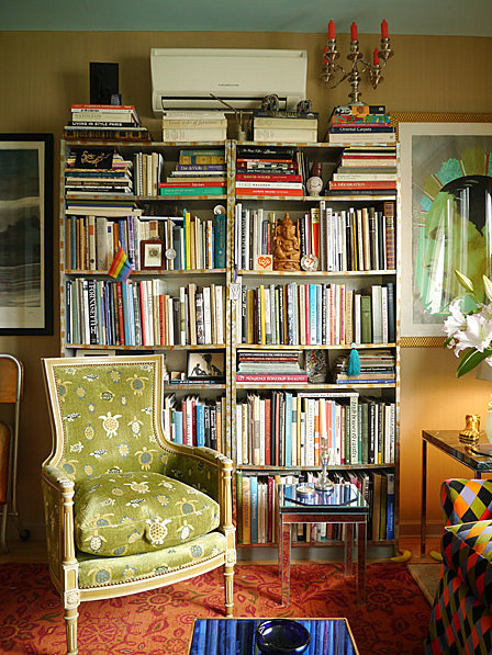messy, colorful bookcase