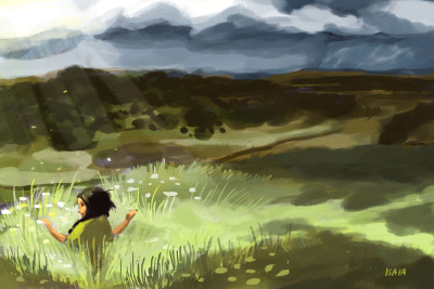 """Quillwork Girl in the Summer Grass"" One more speedpaint before bed!!!Colors for more ""Quillwork Girl and Her Seven Star Brothers"" so I tried to stop being a baby and push composition and colors more without crying over everything and giving up. I'm happy with it AHHH must practice more. :UUUU and to those who asked here's the rest: 'poster' color testing for Quillwork Girl character designs"