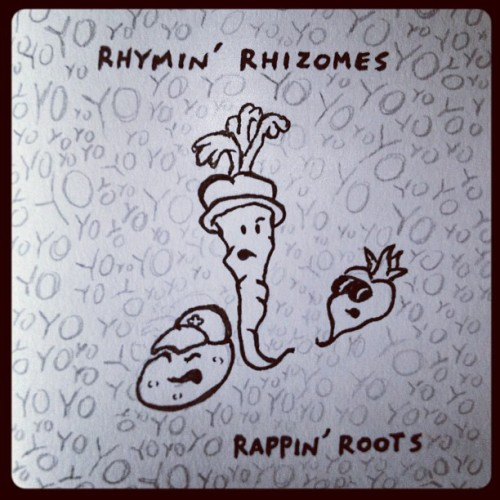 Rappin' root vegetables (cooked up with @VenkmanProject)… (Taken with Instagram) (Jess Bradley's own Cute Roots can be seen here. We're going to get together and form a nutritious soul food supergroup, dressing up as beets that drop badnasty beats…)