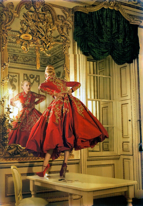 Jessica Stam in Christian Dior Haute Couture photographed by Corinne Day for Vogue UK October 2007.
