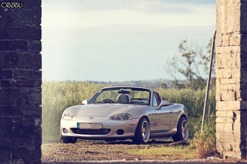 "Car: Mazda MX5 Location: Cork Story: I shot this MX during a photoshoot of Mike Fitzgerald's FC RX7 that I will be putting online in the coming weeks. The car belongs to my cousin Dave Foley who helps me out with some graphical work. The car is fitted with a very rare set of Zender wheels. 15"" and 8J making it one of only 25 sets in the world - super dope! Click here for more pics on 500px"