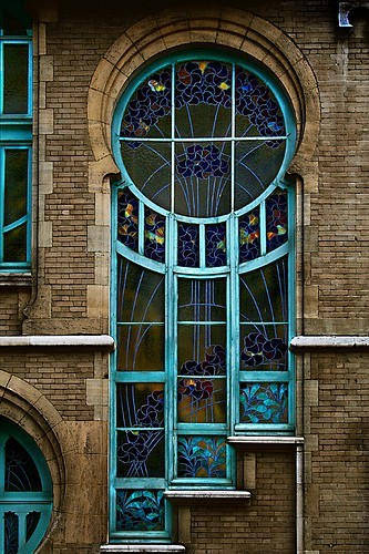 art nouveau - Early 20th century stained glass window in Brussels, Belgium