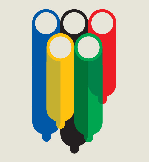 88floors:  Olympic Rings by Noma Bar - For an article revealing the huge amount of sex within the Olympic Village