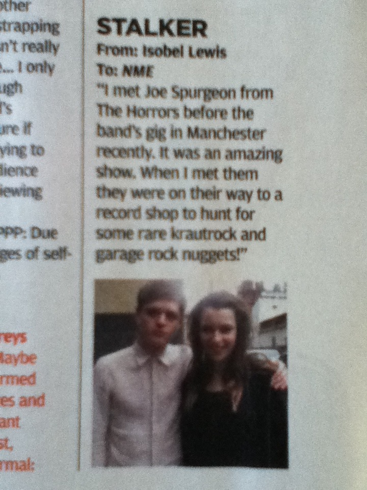 i'm in NME again! they edited my text bit but its my 3rd time in nme so yay