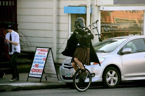 micahplease:  Let's see: Kilt? Check. Unicycle? check. Bagpipes? Check. Darth Vader costume? Check. Okay. I'm ready for my brother's wedding.  here they play the violin and there they play bagpipes :)