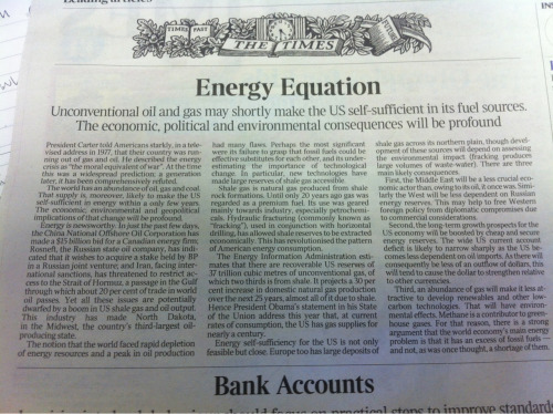 Times. July 25.   Leader on US energy self sufficiency.